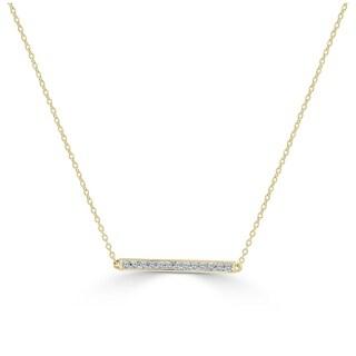 "Joelle 14K Gold 1/10ct TDW Diamond Bar Necklace on an adjustable 14"", 16"" & 18"" Chain"