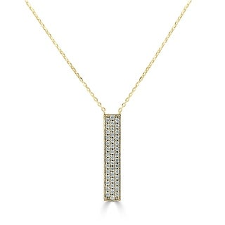 Joelle 14K Gold 1 4ct TDW Diamond Bar Necklace On An Adjustable 14 16 18 Chain