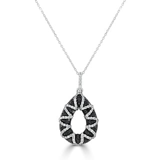 Joelle 14K Gold Black White Diamond 3 12cttw Pendant On A 16 Chain