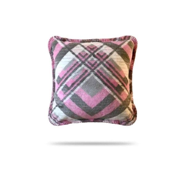 Denali Pink & Gray Plaid/Light Gray Pillow 18x18