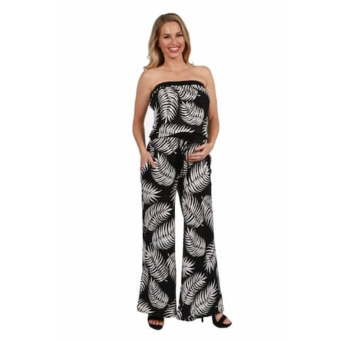 24seven Comfort Apparel Print Strapless Maternity Jumpsuit with Pockets