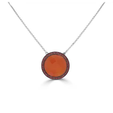 "Circle Necklace 14k Gold Orange Carnelian 16"""