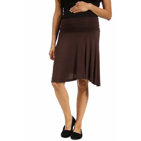 24seven Comfort Apparel Womens Foldover Knee Length Maternity Skirt