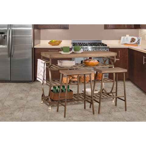 Paddock 3 Piece Kitchen Cart Set with 2 Kennon Stools - Assembly Required - Assembly Required