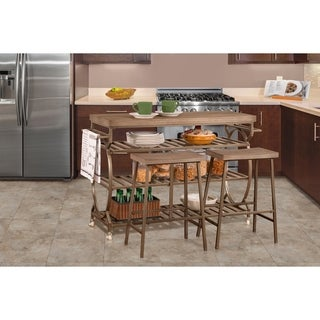 Paddock 3 Piece Kitchen Cart Set with 2 Kennon Stools - Assembly Required