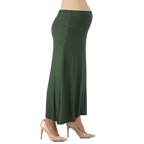 24seven Comfort Apparel Womens Fit Elastic Waist Maternity Maxi Skirt