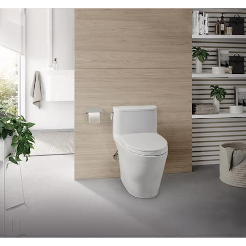 TOTO Nexus 1G 1-Piece Elongated 1.0 GPFToilet w/ SS124 SoftClose Seat, Cotton White (MS642124CUFG#01)