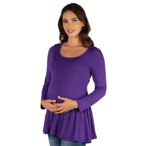 24seven Comfort Apparel Long Sleeve Maternity Swing Tunic Top