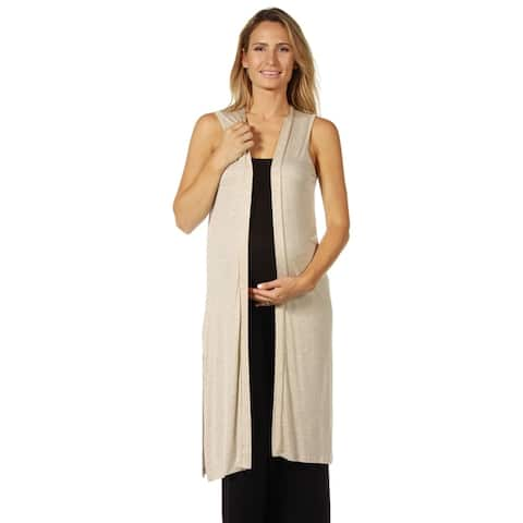 24seven Comfort Apparel Long Sleeveless Maternity Cardigan
