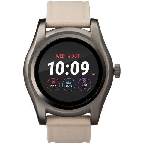 iConnect by Timex TW5M31900 Beige/Gunmetal Round Touchscreen Watch