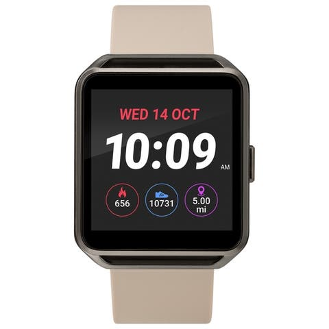 iConnect by Timex Classic Square Smartwatch with Heart Rate & Two-Way Bluetooth Calling 40mm - Gunmetal with Beige Strap