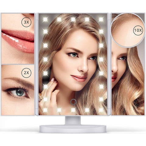 LED Makeup Vanity Mirror 1X 2X 3X 10X Tri Fold Adjustable Dimmable - White