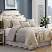 Amrapur Overseas 8-Piece Jacquard Floral Jacobean Comforter Set - Tan