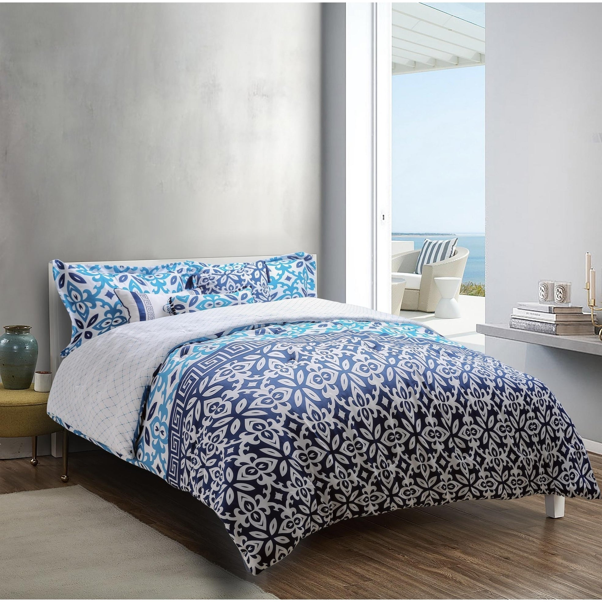 Explore Brand Mykonos Printed 6 Piece Comforter Set In Deep Blue Medium Blue White Grecian Tile Design Overstock 28014141
