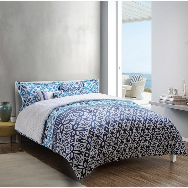 Explore brand - Mykonos Printed 6-piece Comforter Set in Deep Blue/Medium Blue/White Grecian Tile Design. Opens flyout.