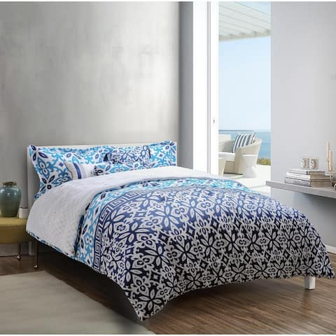 Explore brand - Mykonos Printed 6-piece Comforter Set in Deep Blue/Medium Blue/White Grecian Tile Design
