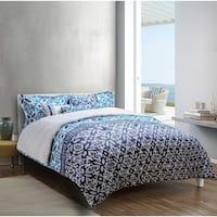 Explore brand -  Mykonos Printed 6-piece Comforter Set in Deep Blue/Medium Blue/White Grecian Tile Design