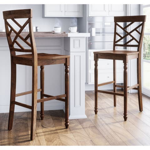 Abbyson Kingston Brown Bar Stool (Set of 2)