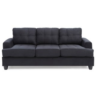 LYKE Home Black Microsuede Sofa | Overstock.com Shopping - The Best Deals  on Sofas & Couches