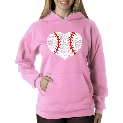 Women's Word Art Hooded Sweatshirt -Baseball Mom - LA Pop Art