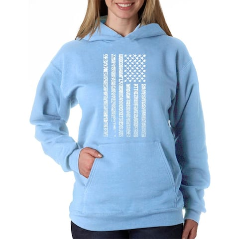 Women's Word Art Hooded Sweatshirt - National Anthem Flag - LA Pop Art