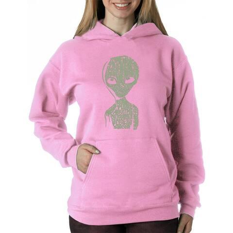 Women's Word Art Hooded Sweatshirt -Alien - LA Pop Art