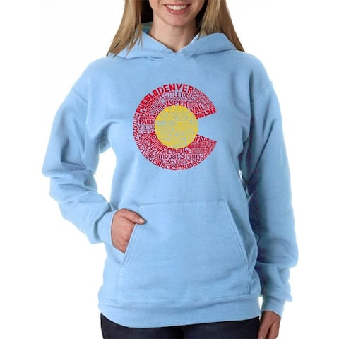 Women's Word Art Hooded Sweatshirt -Colorado - LA Pop Art