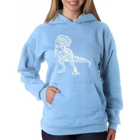 Women's Word Art Hooded Sweatshirt -Dino Pics - LA Pop Art