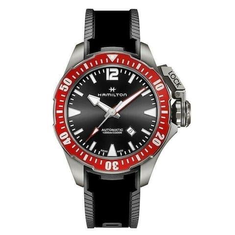 Hamilton Men's H77805335 'Khaki Navy Frogman' Black Silicone Watch