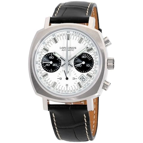 Longines Men's L2.791.4.72.0 'Heritage' Chronograph Black Leather Watch