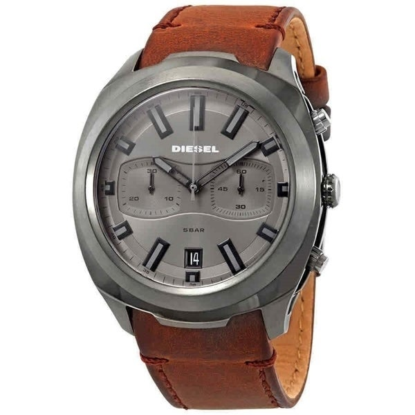 d17776e1d Shop Diesel Men's DZ4491 'Tumbler' Chronograph Brown Leather Watch - Free  Shipping Today - Overstock - 28014381