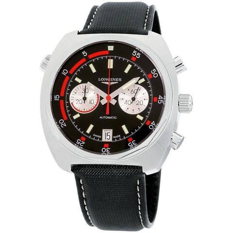 Longines Men's L2.796.4.52.0 'Heritage' Chronograph Black Canvas Watch