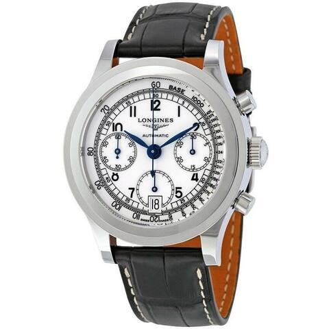 Longines Men's L2.768.4.13.2 'Heritage' Chronograph Black Leather Watch