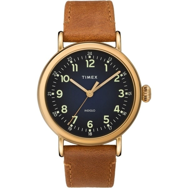 ace0664c7a00c Shop Timex Men s TW2T20000  Standard  Brown Leather Watch - Free Shipping  Today - Overstock - 28014430
