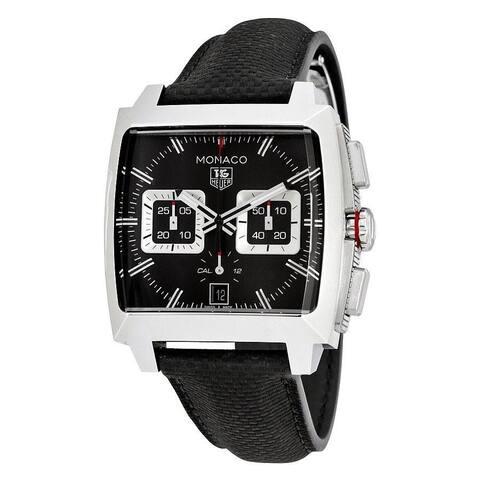 Tag Heuer Men's CAL2113.FC6536 'Monaco' Chronograph Black Leather Watch