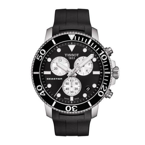 Tissot Men's T1204171705100 'Seastar 1000' Chronograph Black Rubber Watch