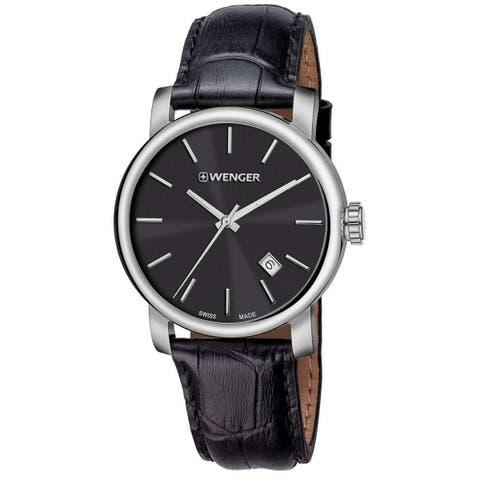 Wenger Men's 01.1041.139 'Urban Vintage' Black Leather Watch