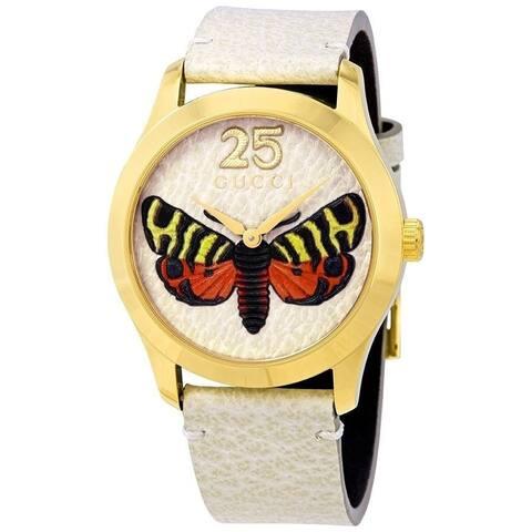 Gucci Women's YA1264062 'G-Timeless' Beige Leather Watch