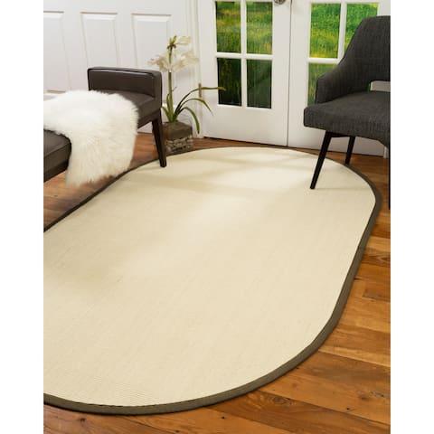 Natural Area Rugs, 100% Natural Fiber Handmade Deco, Cream Sisal Oval Rug (6'X9'), Malt Border - 6' x 9'