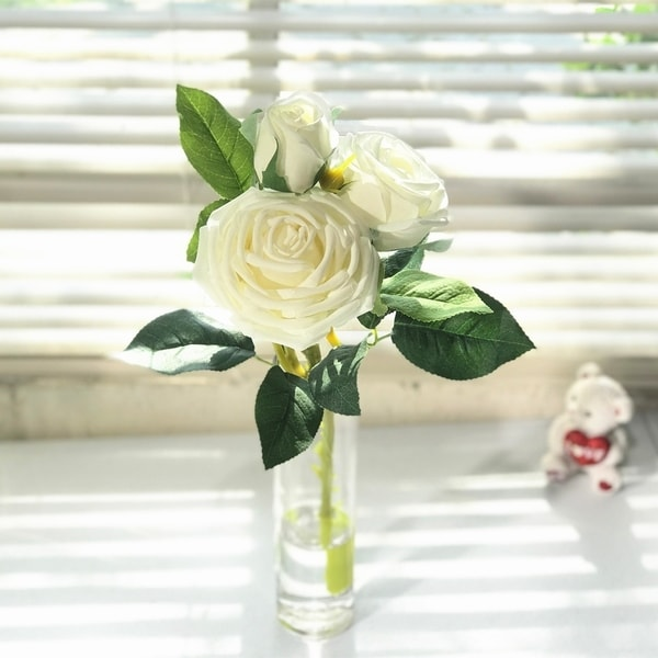 Enova Home Natural Touch Rose Flower in Clear Glass Vase with Faux Water