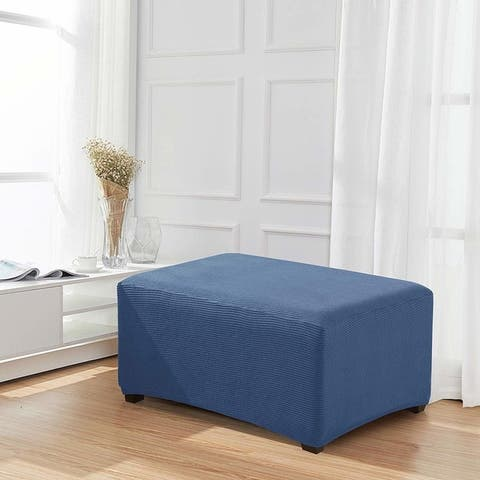 Enova Home Jacquard Polyester Stretch Fabric Oversized Ottoman Slipcover