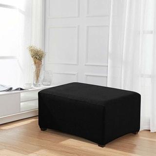 Enova Home Jacquard Polyester Stretch Fabric Oversized Ottoman Slipcover