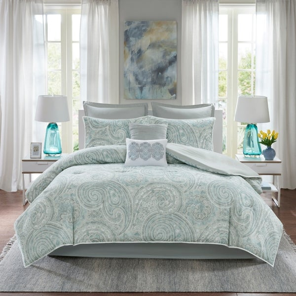 Comfort Spaces Noami Blue/ Grey 8 Piece Comforter Set