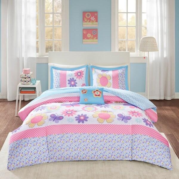 Comfort Spaces Spring Blossoms Blue Comforter Set