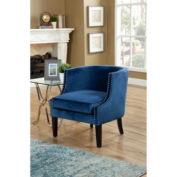 Outstanding Shop Alpine Furniture Royal Blue And Black Accent Chair With Machost Co Dining Chair Design Ideas Machostcouk