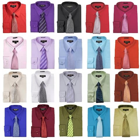 Men's Regular-Fit Solid Long Sleeve Dress Shirt With Mystery Tie Set-All Sizes