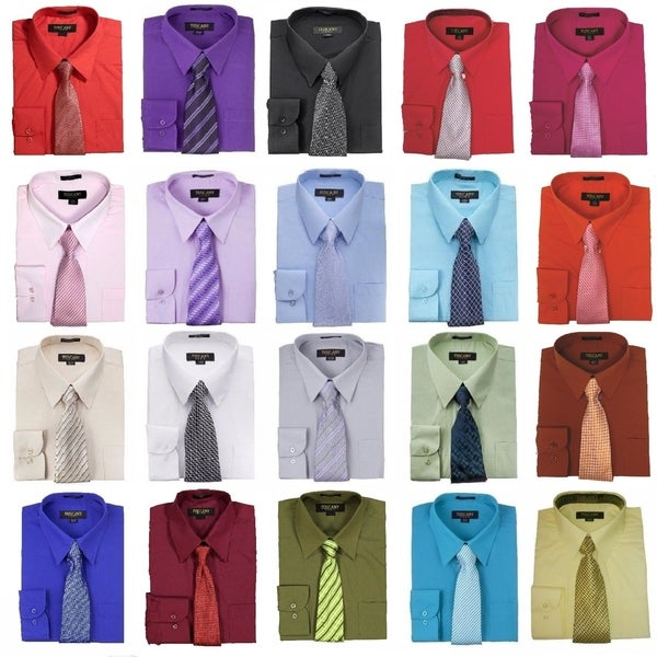 Men's Regular-Fit Solid Long Sleeve Dress Shirt with Mystery Tie Set-All Sizes. Opens flyout.