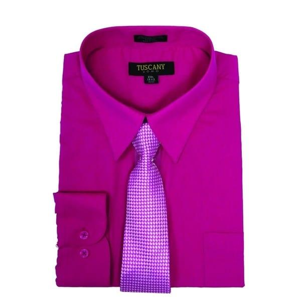 Mens Dress Shirt With Mystery Tie Set LIGHT BLUE,16.5 NECK 34-35 SLEEVE
