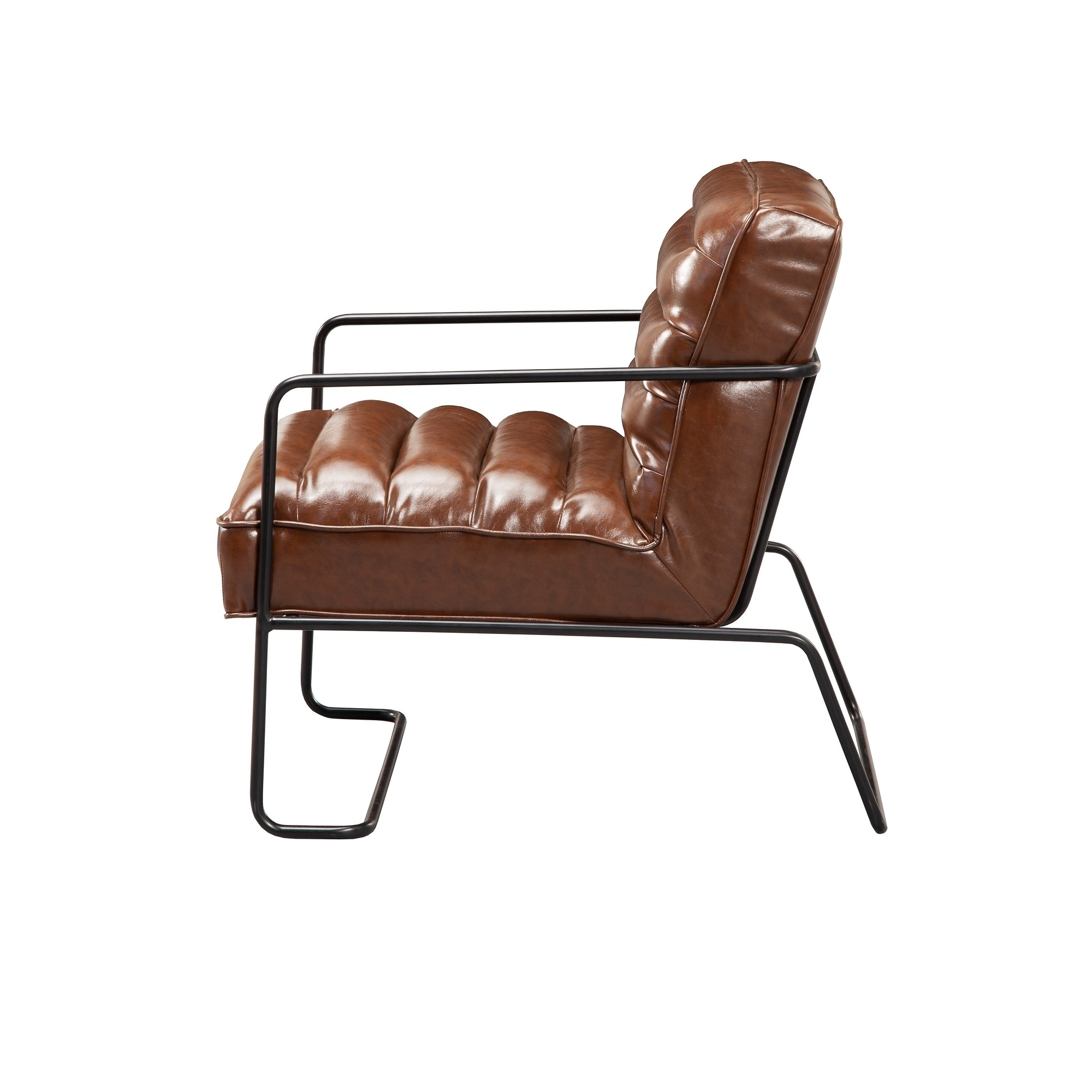 Cool Alpine Furniture Charles Brown Leather Accent Chair With Black Metal Frame Machost Co Dining Chair Design Ideas Machostcouk