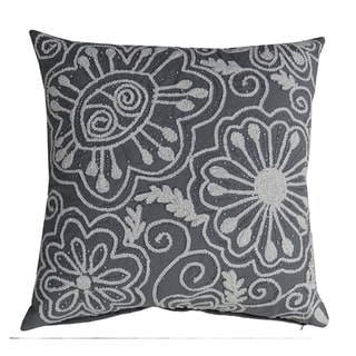 """Peacock Throw Pillow Cover (Grey, 20""""X20"""" embroidery)"""